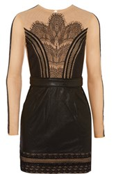 Self Portrait Wanderlust Embroidered Tulle And Faux Leather Mini Dress Black