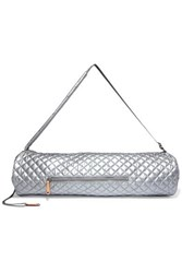 M Z Wallace Mz Leather Trimmed Metallic Quilted Shell Yoga Mat Bag Silver