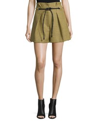 3.1 Phillip Lim Belted Houndstooth Wool Shorts Yellow Multicolor