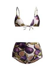 Adriana Degreas Fig Print High Rise Bikini Purple Print