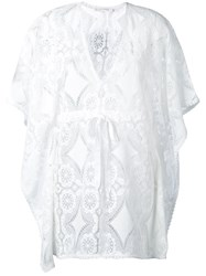 Celia Dragouni Crochet Kaftan Women Cotton M White