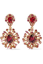 Oscar De La Renta Gold Tone Crystal Clip Earrings