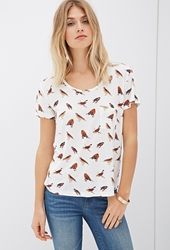 Forever 21 Bird Print Pocket Tee
