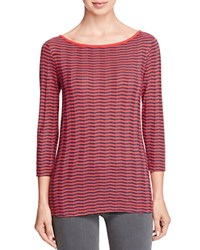 Three Dots British Chevron Stripe Tee Navy Red Combo