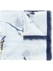 Carolina Herrera Bird Print Scarf Blue