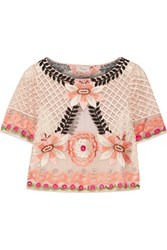 Temperley London Belle Cropped Embroidered Tulle Top Blush