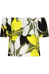 Bailey 44 Off The Shoulder Layered Printed Crepe Top Yellow