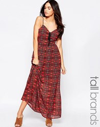Influence Tall Boho Maxi Lace Up Dress Red