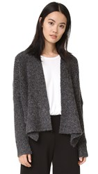 Three Dots Boxy Cardigan Black Charcoal