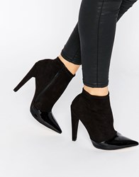 Little Mistress Bogart Toecap Pull On Heeled Ankle Boots Black Patent