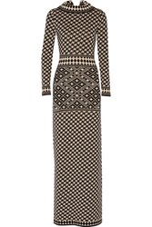 Temperley London Empire Intarsia Knit Merino Wool Maxi Dress Black