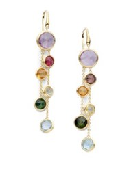 Marco Bicego Jaipur Semi Precious Multi Stone And 18K Yellow Gold Drop Two Strand Drop Earrings