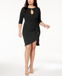 069474bdc1 Love Squared Trendy Plus Size Cutout Faux Wrap Dress Black