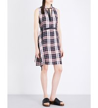 Pringle Of Scotland Babydoll Tartan Satin Dress Pink Check