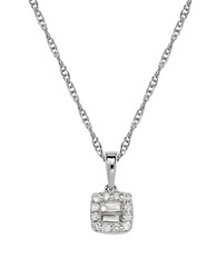Lord And Taylor Diamond And 14K White Gold Princess Cut Pendant Neckalce