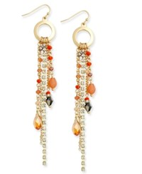 Inc International Concepts Gold Tone Beaded Fringe Drop Earrings Only At Macy's
