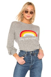 Spiritual Gangster Cashmere Blend Today Rainbow Block Party Sweater Gray