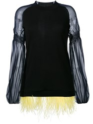 N 21 No21 Feather Hem Knitted Top Black