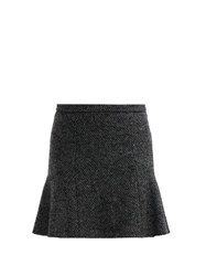 Red Valentino Redvalentino Mid Rise Herringbone Tweed Mini Skirt Grey