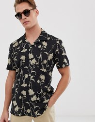 Hymn Floral Print Seersucker Short Sleeve Shirt Black