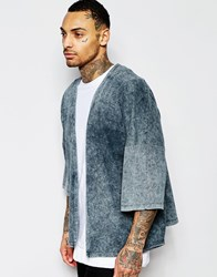 Asos Oversized Kimono With Acid Wash Grey