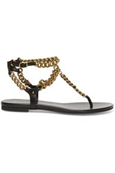 Balmain Pierre Chain Embellished Leather Sandals Black