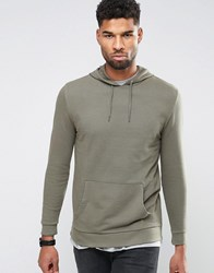 Asos Longline Hoodie With Side Zips In Khaki Toad Green
