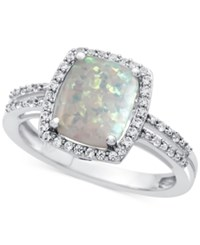 Macy's Lab Created Opal 7 8 Ct. T.W. And White Sapphire 1 1 3 Ct. T.W. Ring In Sterling Silver