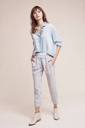 Anthropologie Striped Linen Joggers Blue Motif