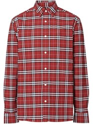Burberry Check Long Sleeve Shirt Red