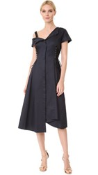 Jason Wu Asymmetrical Lace Up Dress Navy