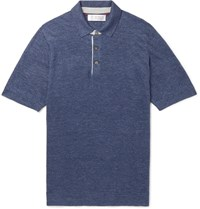 Brunello Cucinelli Slim Fit Knitted Linen And Cotton Blend Polo Shirt Blue