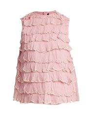 Jupe By Jackie Bagana Tiered Ruffle Silk Organza Top Light Pink