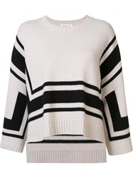 Derek Lam 10 Crosby Flared Striped Sweater White