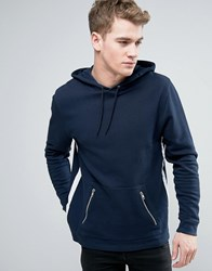 Asos Hoodie With Tape Detail And Zip Pockets Navy