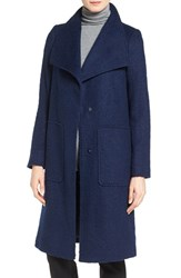 Bernardo Petite Women's Textured Long Coat Evening Blue