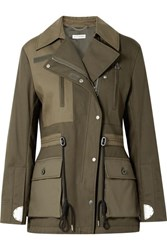 Altuzarra Chet Quilted Shell Paneled Cotton Twill Jacket Army Green