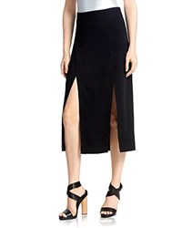 Halston Heritage Double Slit Midi Skirt Black