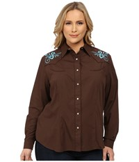 Roper Plus Size 0145 Solid Broadcloth Brown Women's Long Sleeve Button Up