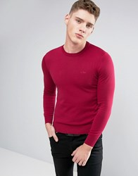 Armani Jeans Crew Knit Jumper Logo Regular Fit In Burgundy Corallo Red