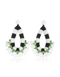 Tory Burch Black And White Beaded Tear Drop Earrings Black White