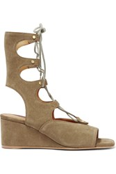 Chloe Lace Up Suede Wedge Sandals Army Green