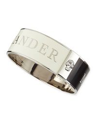 Alexander Mcqueen Medium 3D Enamel Logo And Skull Cuff Black White Silvertone