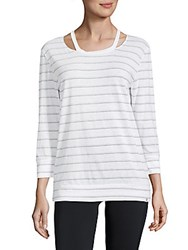 Andrew Marc New York Striped Cut Out Three Quarter Top White