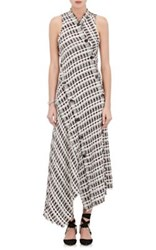 Proenza Schouler Women's Bias Cut Plaid Tweed Long Dress Ivory
