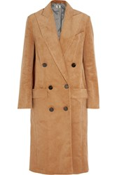 Topshop Unique Acrefield Double Breasted Corduroy Coat Camel