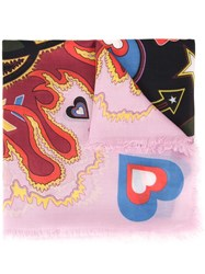 Mary Katrantzou 'Heart Flames' Scarf Pink Purple
