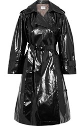Nanushka Ambar Belted Vinyl Trench Coat Black