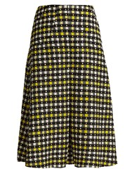 Duro Olowu Napoli Check Print Pleated A Line Skirt Yellow Multi