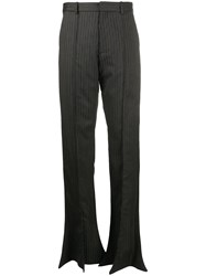 Y Project Striped Wide Leg Trousers Grey